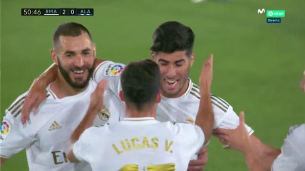 Marco Asensio, volante del Real Madrid, marcó el segundo gol durante el encuentro ante el Alavés por la fecha 35 de La Liga en España.