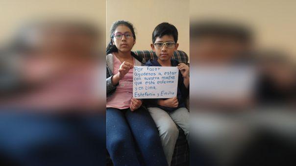 Niños piden ayuda para viajar de Arequipa a Lima y ver a su madre que padece de cáncer terminal.