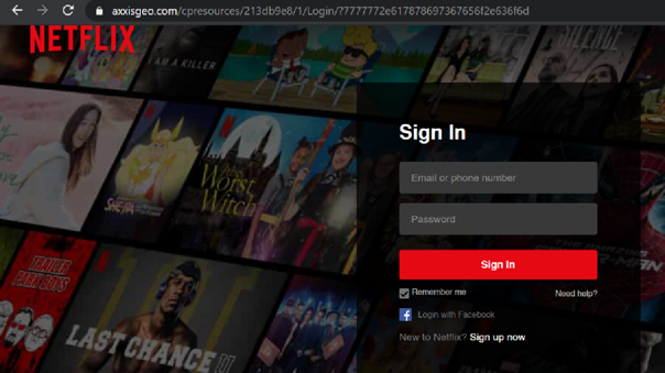 Detalle clave: la barra de direcciones con una página que no se trataba de Netflix.