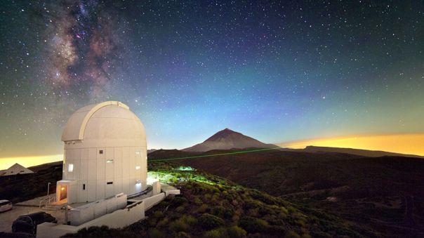 Láser desde la estación óptica de tierra en Tenerife