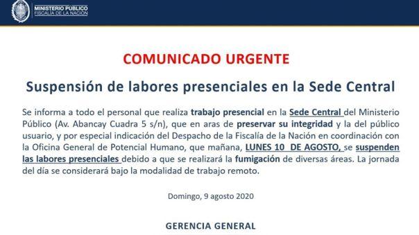 Comunicado interno a personal laboral de la sede central del Ministerio Público anunciando fumigación en sus instalaciones.