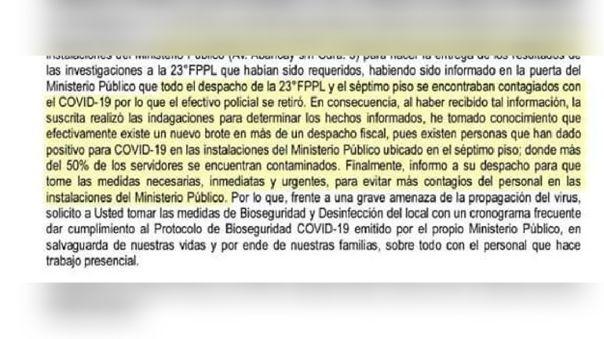 Documento enviado al despacho de Aurora Fourman, Presidenta de la Junta de las Fiscalías Superiores Penales de Lima, tras conocerse resultado COVID-19 del personal laboral.