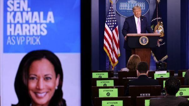 Trump había reaccionado al colgar en su cuenta un video de su campaña electoral en el que califica a Kamala de