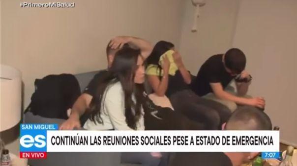 La Policía intervino a los jóvenes en el quinto piso de un condominio, ubicado en el distrito limeño de San Miguel.