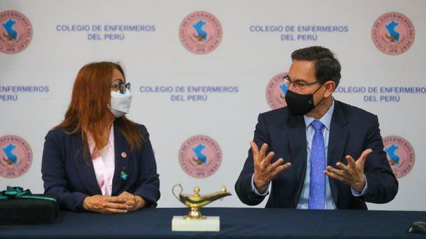 Presidente Vizcarra se reunió con el Colegio de Enfermeros del Perú.