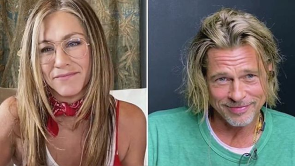 Jennifer Aniston y Brad Pitt participaron en una videollamada.