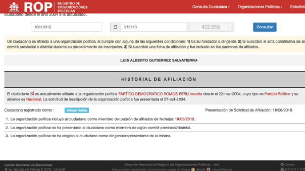 Según el Registro de Organizaciones Políticas, Luis Gutiérrez Salvatierra es militante de Somos Perú desde el 22 de noviembre del 2004.