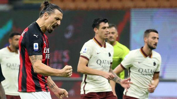 Zlatan Ibrahimovic marcó un doblete en el empate del Milan 3-3 Roma