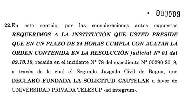 Carta notarial enviada a SUNEDU por TELESUP