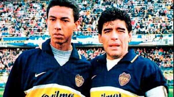 Nolberto Solano y Diego Maradona en Boca Juniors
