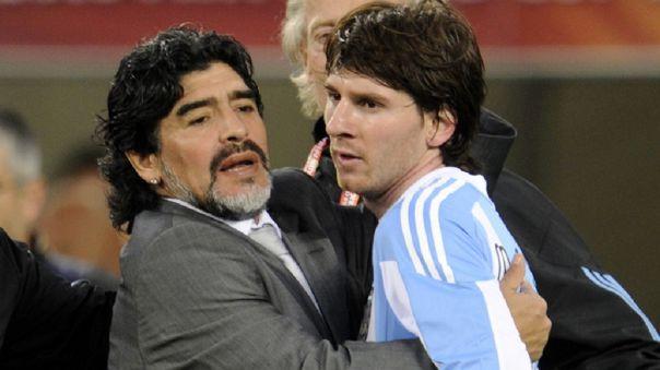 Maradona y Messi durante el Mundial Sudáfrica 2010