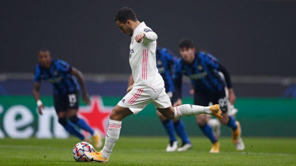 Eden Hazard marcó el 1-0 del Real Madrid ante Inter de Milán