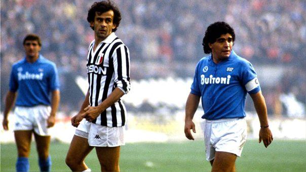 Diego Maradona y Michel Platini en la Serie A
