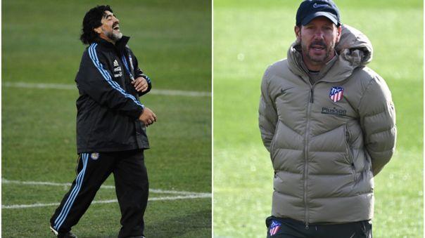 Maradona y Simeone fueron compañeros en el Sevilla