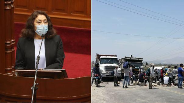 Presidenta del Consejo de Ministros se pronunció sobre las protestas al interior del país.