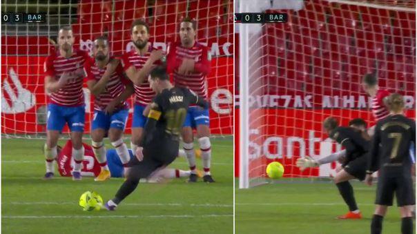 Lionel Messi anotó un golazo de tiro libre ante el Granada