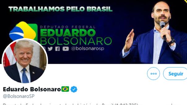 Eduardo Bolsonaro pone foto de Trump en su perfil de Twitter