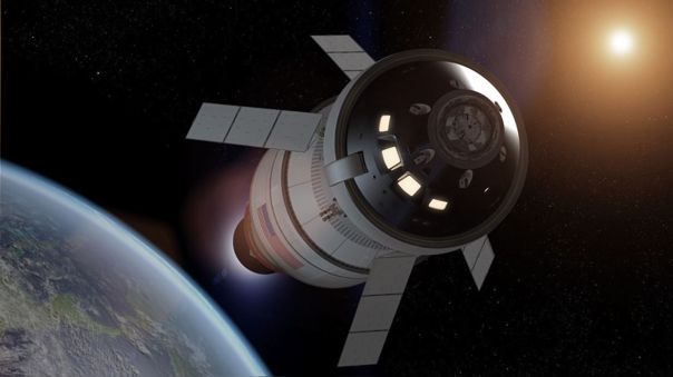 Ilustración de la nave Orion de la misión Artemisa 1