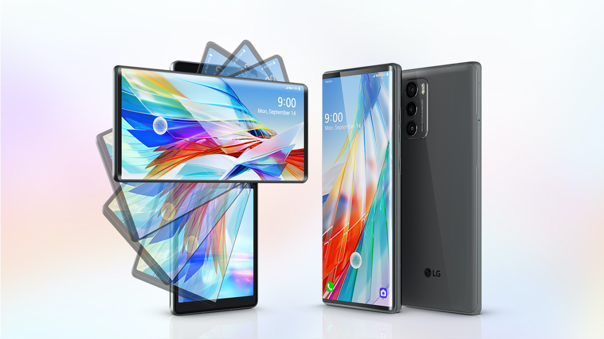 El LG Wing, un teléfono con dos pantallas presentado por LG en 2020.