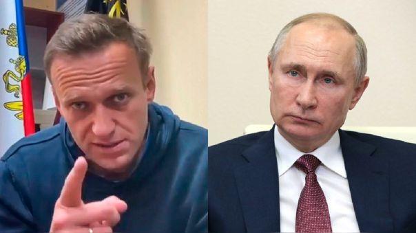 El opositor Alexéi Navalny y el presidente ruso Vladimir Putin.