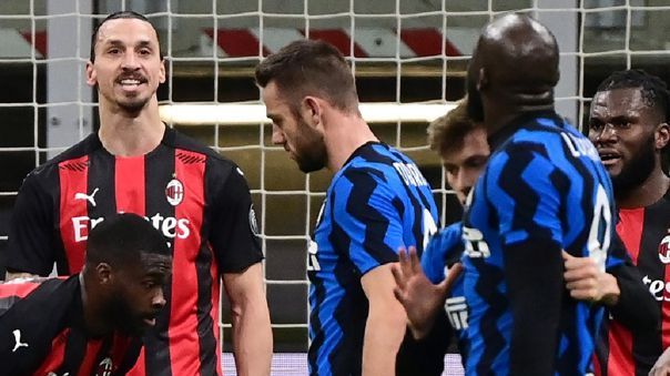El cruce entre Zlatan Ibrahimovic y Romelu Lukaku durante la Coppa Italia