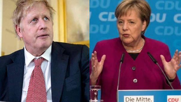 Boris Johnson, primer ministro británico, y Angela Merkel, canciller alemana
