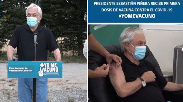 Sebastián Piñera recibió este viernes la primera dosis de la vacuna elaborada por el laboratorio chino Sinovac.
