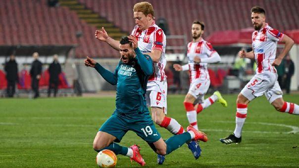 Milan empató con Estrella Roja por la ida de 16vos de final de la Europa League