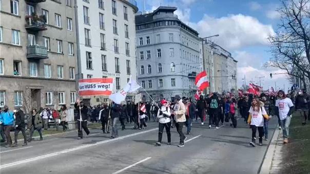 Protesta en Austria contra el confinamiento