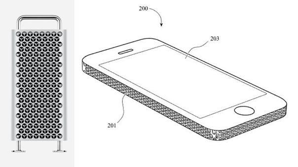 La Mac Pro junto a un diseño incluido en la patente.