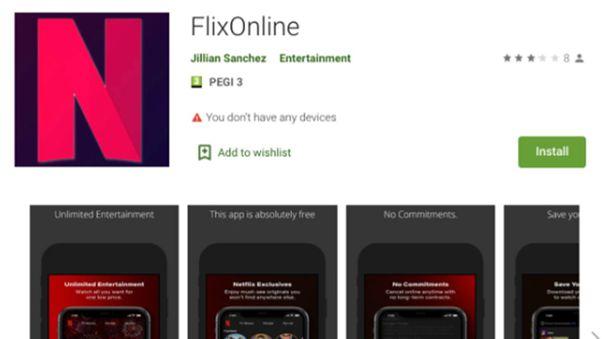 Apps como FlixOnline buscan que el usuario se confunda.
