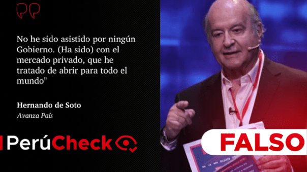 Hernando de Soto, candidato de Avanza País.