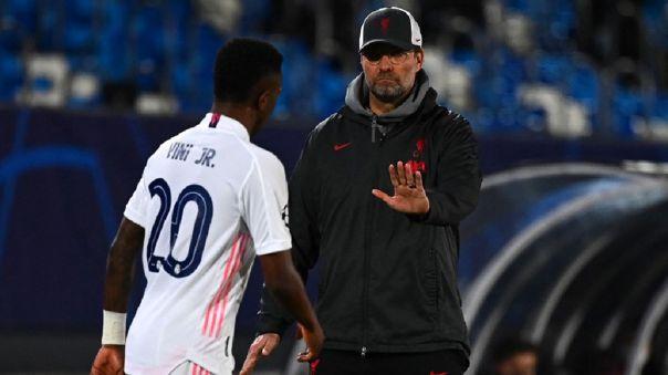 Vinicius le marcó un doblete a Liverpool por la Champions