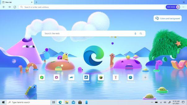 Así luce la pantalla de inicio de Microsoft Edge para niños.