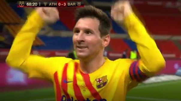 Lionel Messi festeja su golazo en el Barcelona vs. Athletic Club.