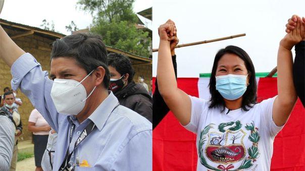 Pedro Castillo y Keiko Fujimori son candidatos en segunda vuelta electoral.