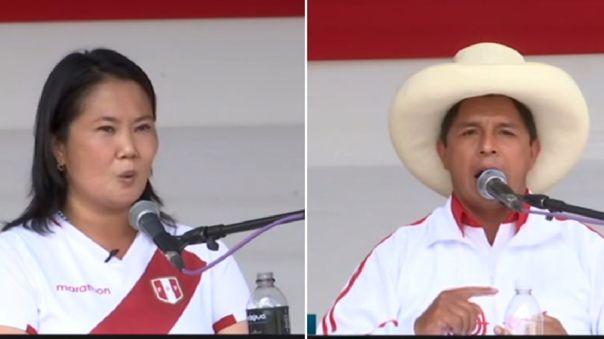 Keiko Fujimori y Pedro Castillo desde Chota, Cajamarca.