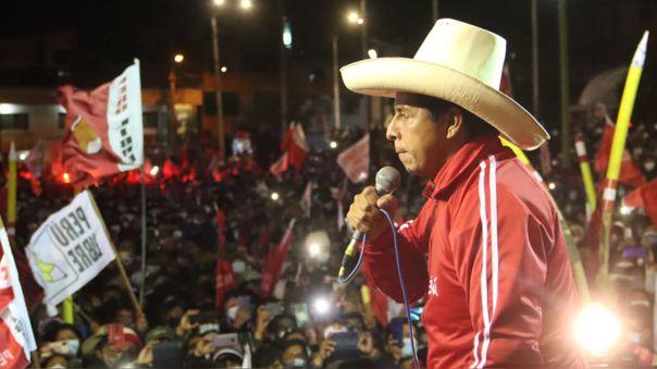 Pedro Castillo recibió los resultados del boca de urna en Tacabamba, Chota (Cajamarca)