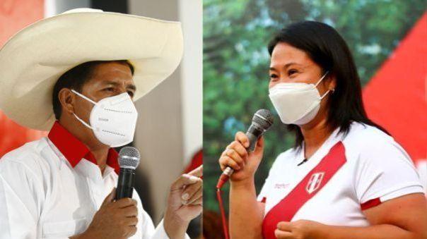 Los candidatos presidenciales Pedro Castillo y Keiko Fujimori se mantienen en un empate técnico.