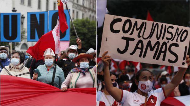 Elecciones 2021 | Simpatizantes de Pedro Castillo y de Keiko Fujimori  marchan en las calles de Lima | RPP Noticias