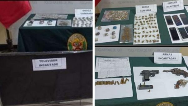 Los efectivos incautaron armas y drogas a los presuntos delincuentes.