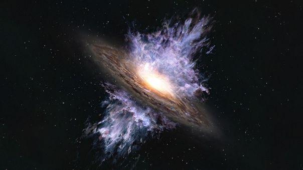 Impresión artística de un viento galáctico impulsado por un agujero negro supermasivo.