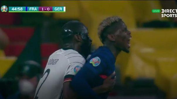 Paul Pogba y Antonio Rüdiger se vieron envueltos en una polémica jugada.