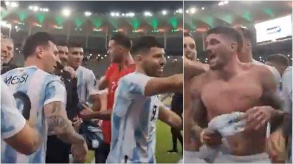 Lionel Messi y Rodrigo de Paul en los festejos de Argentina por la Copa América