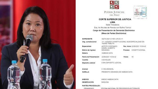 Poder Judicial admite a trámite habeas data que Fuerza Popular interpuso a la ONPE