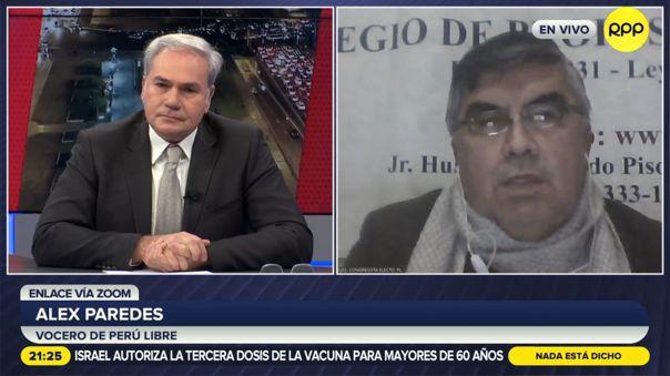 Alex Paredes, vocero de Perú Libre, pidió