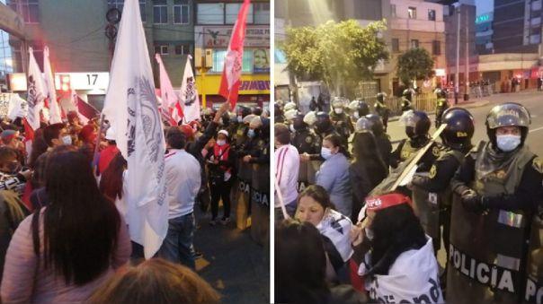 Los manifestantes llegaron al cruce de las avenidas Bolivia y Arica.