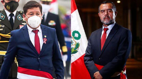 Los ministros Guido Bellido e Iber Maravi.