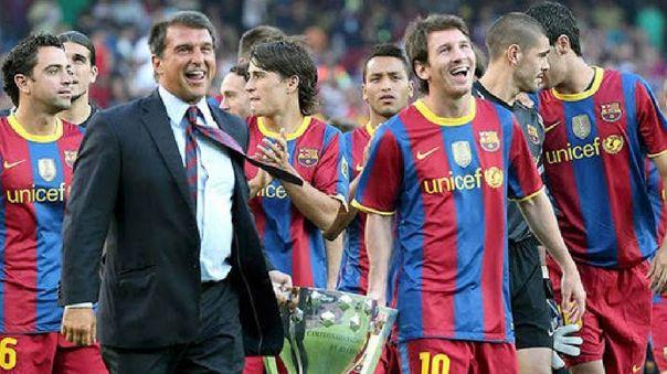 Joan Laporta, como presidente del Barcelona, lo ganó todo con Lionel Messi.