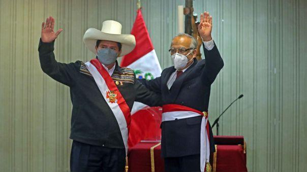 El presidente Pedro Castillo y el ministro de Justicia, Aníbal Torres.